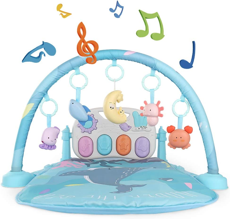 TEMI Baby Play Mat Activity Gym, Kick and Play Piano Play Center with 5 Activity Sensory Toys, Mirror, Music and Lights for Infant Toddler Newborn Boys and Girls 1 to 36 Months