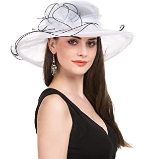 SAFERIN Women s Organza Church Kentucky Derby Hat Feather Veil Fascinator  Bridal Tea Party Wedding Hat 9b1a8e6ead44