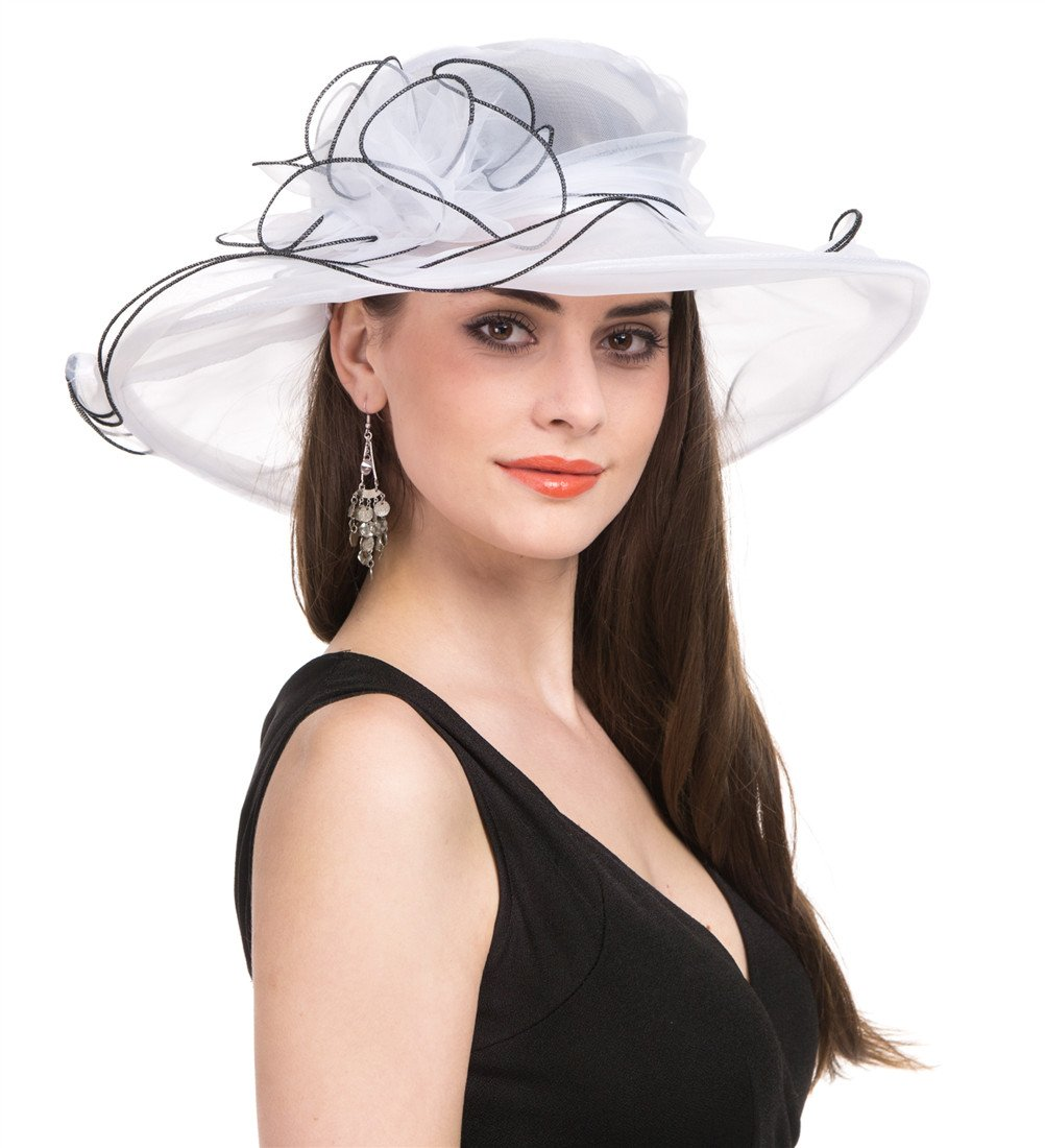 SAFERIN Women's Organza Church Kentucky Derby Hat Feather Veil Fascinator Bridal Tea Party Wedding Hat (White Black Line)