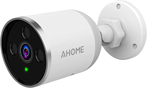 AHOME A1 Outdoor Security Camera Wireless with Motion Detection, 1080P Night Vision, 2-Way Audio, Deterrent Alarm, 2.4G WiFi Ethernet, Cloud Storage SD Slot for Waterproof Surveillance System – White