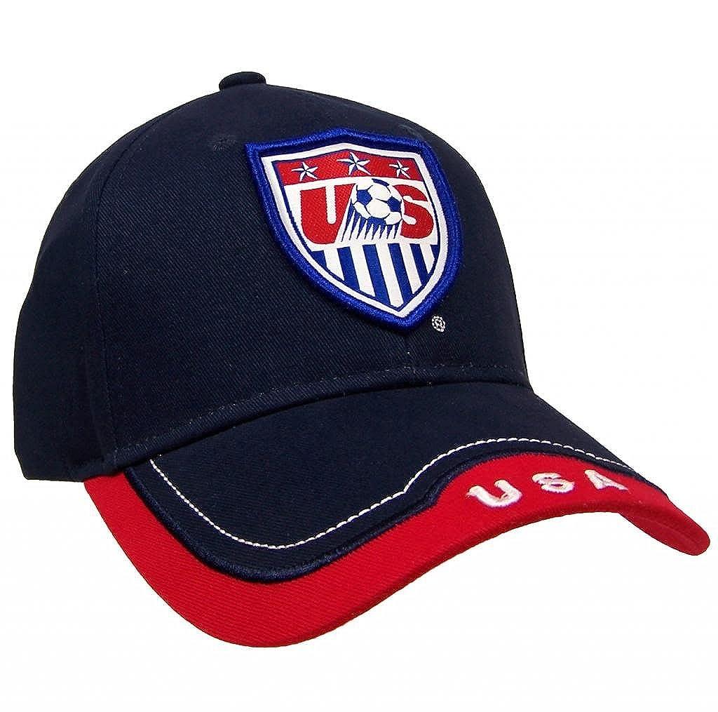 f49aec43 Amazon.com : Team USA Unisex Cotton World Cup Soccer Adjustable Cap Hat  (Blue/Red) : Clothing