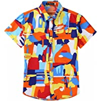 EElabper Camisa hawaiana de manga corta para hombre, diseño estampado aloha casual con botones
