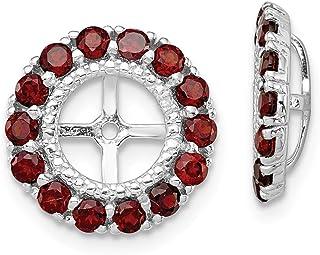 Argento sterling 925rodiato diamante e granato orecchini giacca