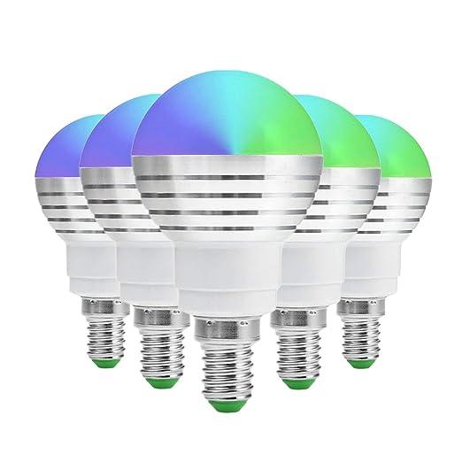 MXNET 5 bombillas LED E14 regulables RGB de 5 W bombillas LED de colores RGB lámparas