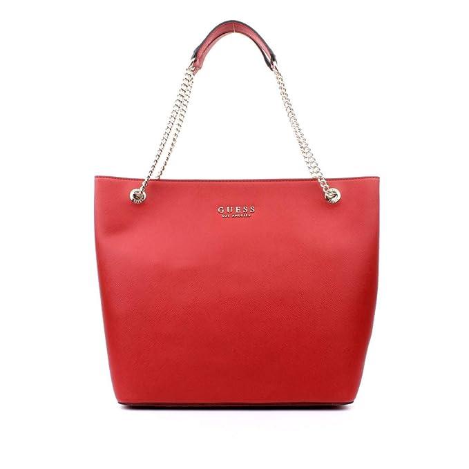 Amazon.com: GUESS ROBYN EV718023 rojo Saffiano bolso de ...