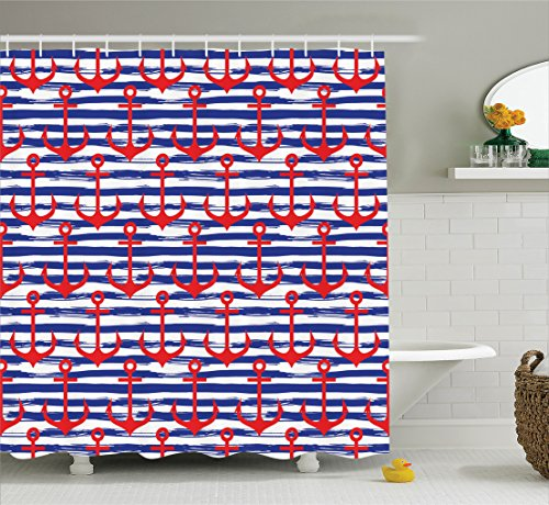 Ambesonne Anchor Decor Collection, Anchors on Striped Background Geometric Artwork Holiday Party Gathering Image, Polyester Fabric Bathroom Shower Curtain Set, 75 Inches Long, Navy Blue Red White (Christmas Decorations Inspired Sea)