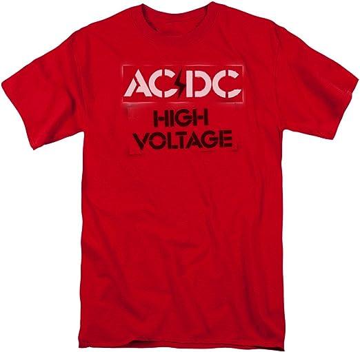 AC/DC Plantilla de Alto Voltaje Camiseta para Adulto - Rojo - Large: Amazon.es: Ropa y accesorios