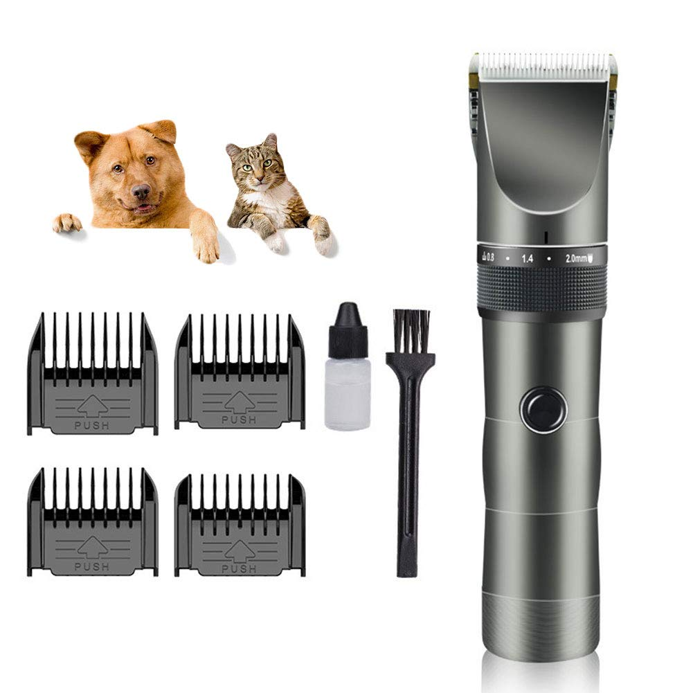 GUAISHOU Dog Grooming Clippers, Rechargeable Cordless Pet Hair Clippers Kit for Dogs Cats and Other Animals Clippers (gold)