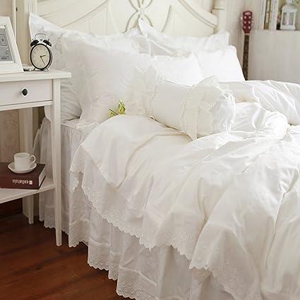 FADFAY White Lace Bedding Sets Snow White Bedding Set Beautiful Korean Bedding  Set White Designer Bed