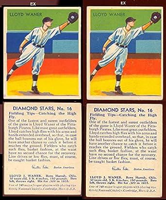 1934 Diamond Stars Regular Baseball Card 16 Lloyd Waner 1936 Blue