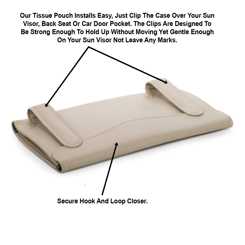 Interior Accessories Pouch for Wipes Bonus Pack of Napkins Included PU Leather Black Tissue Dispenser Hanging Case to Clip On Your Car Door Or Back Seat Pocket lebogner Car Sun Visor Tissue Holder