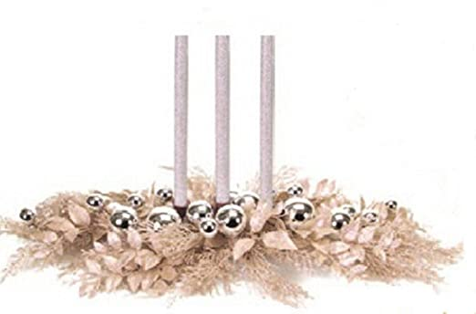 Christmas Tablescape Decor - Elegant champagne cedar pine & silver christmas ball ornament taper candle holder centerpiece