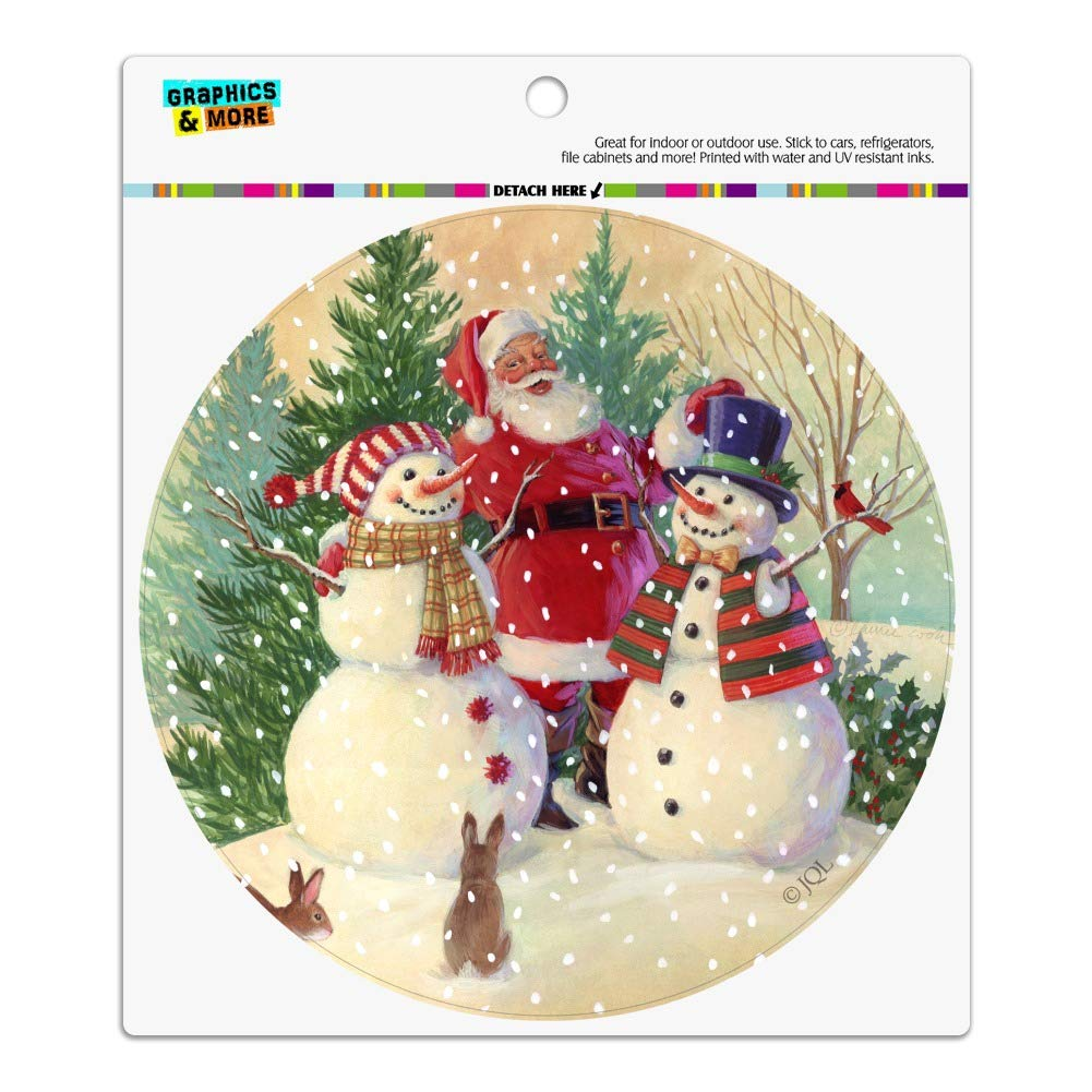 Graphics and More Christmas Holiday Santa Snowman Friends Automotive Car Refrigerator Locker Vinyl Circle Magnet