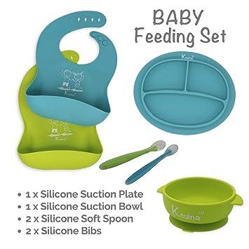 Set De Utensilio De Alimentacion Para Bebe Incluye Cucharas Baberos y Platos