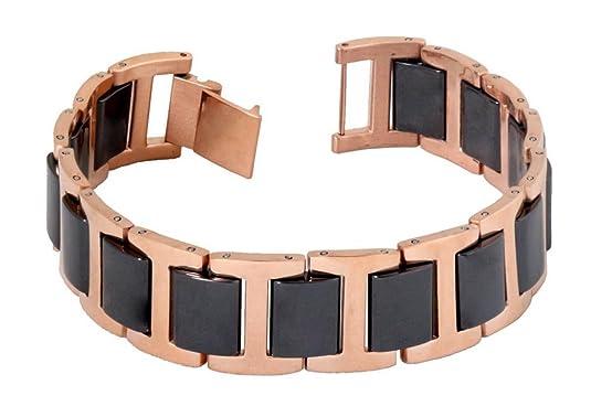 the jewelbox tungsten rose gold black ceramic classic bio magnetic mens boys bracelet Bracelets & Kadas at amazon