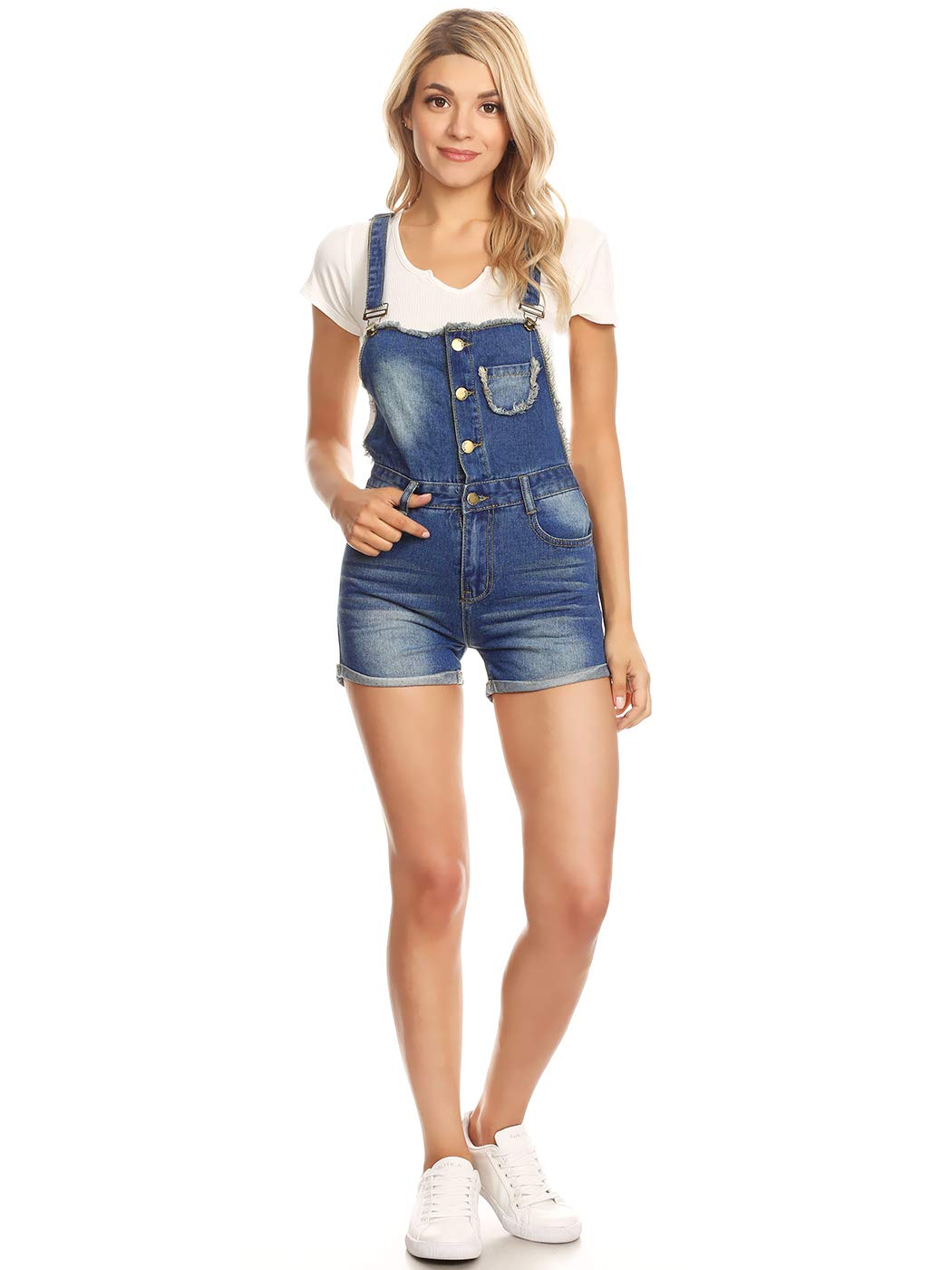 Anna-Kaci Womens Juniors Distressed Blue Denim Overall Shortall Rip Jean Shorts, Blue, X-Large