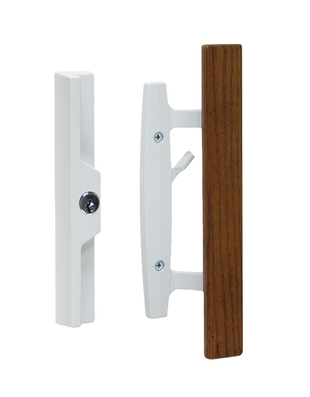 "Lanai Sliding Glass Door Handle Set with Oak Wood Pull in White Finish, Includes Key Cylinder, Standard 3-15/16"" CTC Screw Holes, 1-1/2"" Door Thickness"
