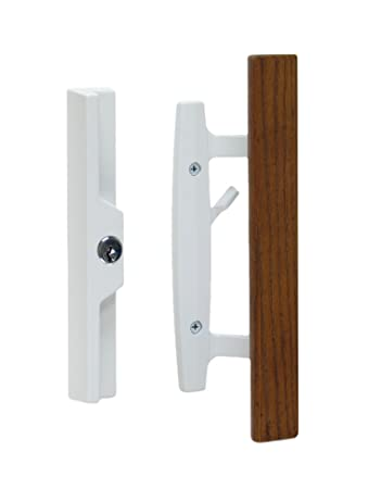 Lanai Sliding Glass Door Handle And Mortise Lock Set With Oak Wood Pull In  White Finish