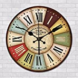 GK-Creative living room bbq Hot Pot Cafe Barber shop tea with milk cake shop restaurant wall clock personalized wooden craft 30 cm diameter