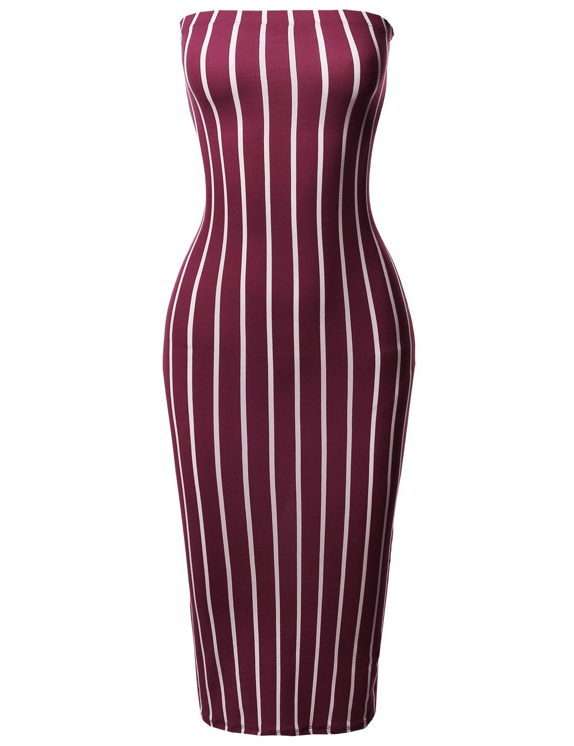 Made by Emma Pinstripe Print Body-Con Tube Midi Dress Burgundy M