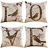 MIULEE Pack of 4 Decorative Birds'LOVE Outdoor Pillow Cover Antique Style Vintage Cotton Linen Burlap Square Throw Cushion Cover Cushion Case for Sofa Bedroom Car 18 x 18 Inch 45 x 45 Cm