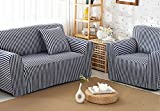 ChezMax Striped Pattern Soft Cotton Fabric Sofa Cover 1 Piece Thicken Strenched Sofa Slipcovers Deep Blue