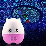 LIWUYOU Creative Lovely Pig Shape USB Projection Lamp Star LED Projector Night Light with Speaker Remote Control,Blue Green Red 3 Colors Changing, Pink