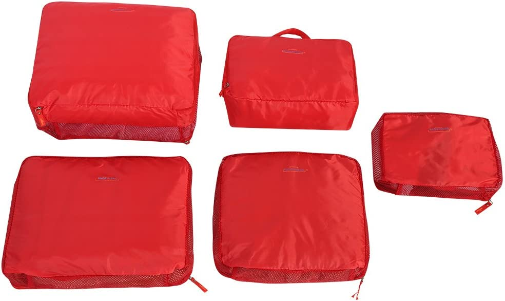 Red Polyester Storage Bag HDWISS 5Pcs Travel Luggage Suitcase Storage Bag Set Clothes Underwear Packing Organizer Pouch