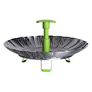 "GA Homefavor Lotus Stainless Steel Steamer Basket Vegetable Steamer with Extendable Handle(Bigger Size 7"" to 11"")"