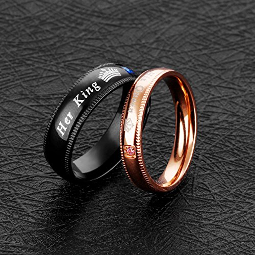 Fate Love Jewelry 2Pcs Matching set Stainless His Queen & Her King Black/Rose Gold Couple Rings Bands, Love Gift by Fate Love Jewelry (Image #2)