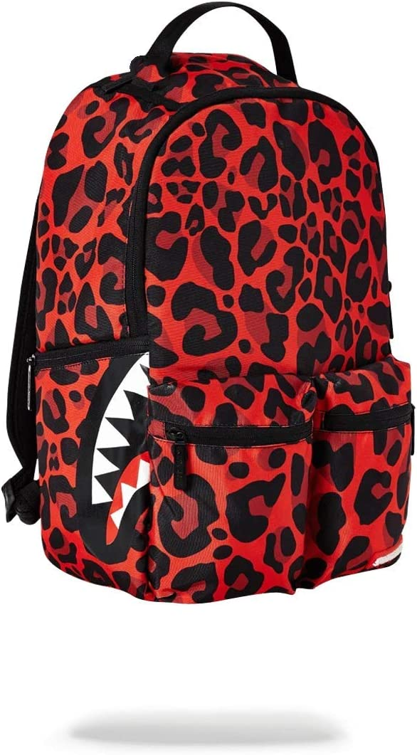 SPRAYGROUND BACKPACK RED LEOPARD DOUBLE CARGO