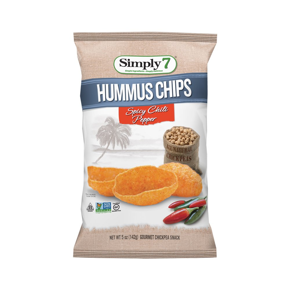 Simply7 Gluten Free Chickpea Hummus Chips, Spicy Chili Pepper, 5 Ounce (Pack of 12)