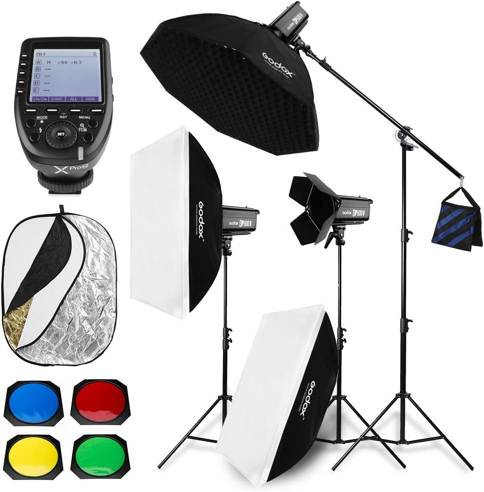 Light Stand Barn Door Godox 1800W 3X DP600II 600W GN80 high-Power Flash Light kit with Xpro-S Trigger Reflector Board 110V Softbox