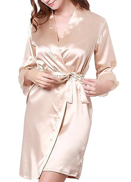 Aivtalk Mujer Bata de Dormir Batón Pijama Slip Vestido de Cinturón Picardías Chemise Ropa de Dormir con Encaje Seducción Lencería Color ...