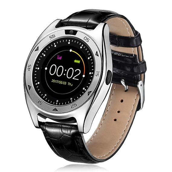 Xinan Reloj Inteligente Bluetooth con Monitor de Frecuencia Cardíaca Fitness Tracker Sincronización con Smartphone Llamada SMS