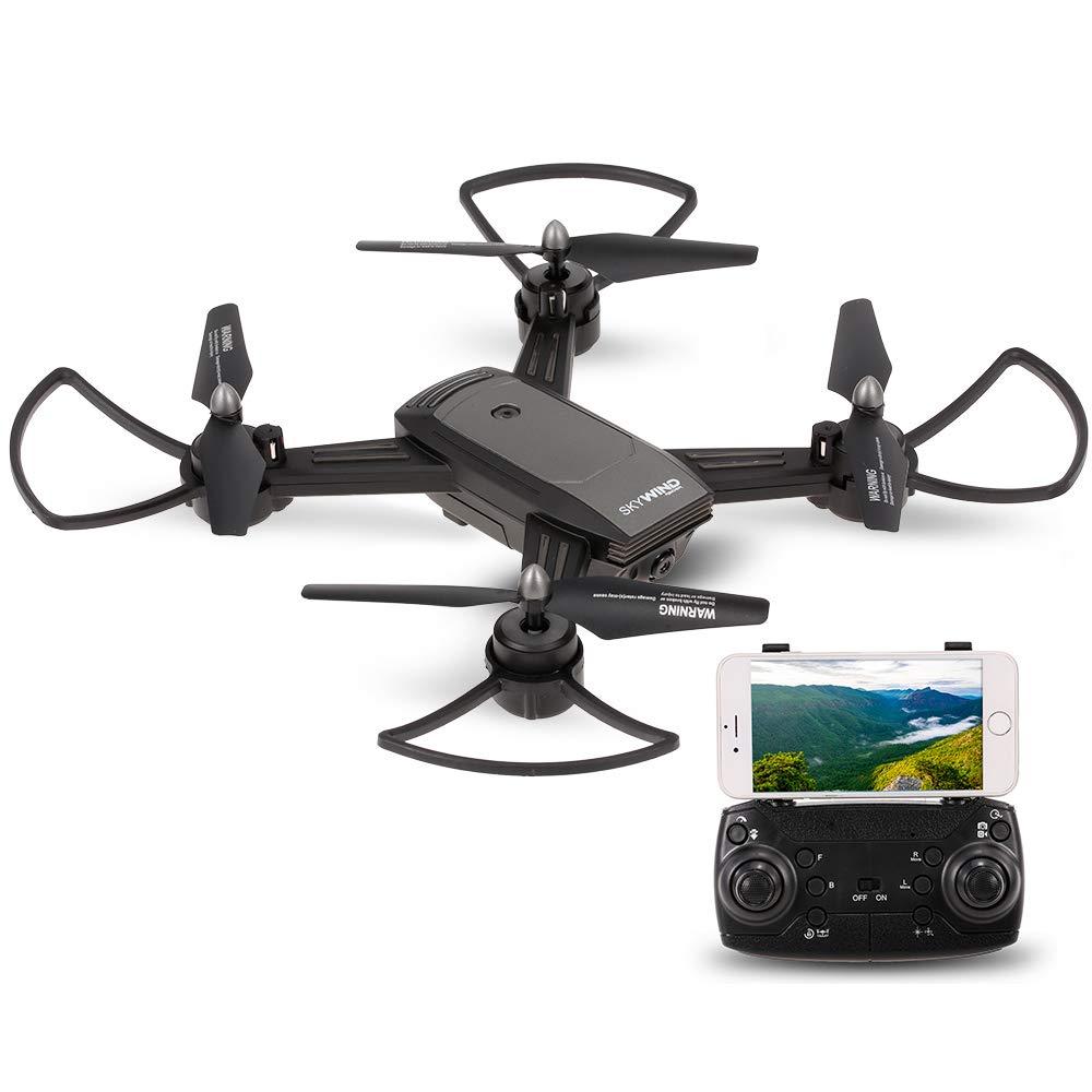 Goolsky LH-X34 Drohne für Anfänger, Tragbare Tragbare Tragbare Mini Hold RC mit 720P Weitwinkel-Kamera / One-Button-Return / Headless-Modus / 3D-Flips / Wifi FPV / Optischer Fluss Positionierung V-Sign Auto-Foto d3ad52