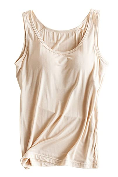 7450f62c5130a Womens Modal Built-in Bra Padded Wide Strap Camisole Yoga Tanks Tops  Apricot S
