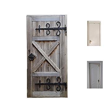 VSHOW 3D Door Wall Sticker  Vintage Old Wooden Door Self Adhesive Sticker,  Removable