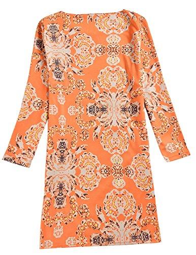 Cekaso Women's Shift Dress Long Sleeve Slim Fit Floral Print Short Tunic Dress, A1, USsizeS=TagsizeL