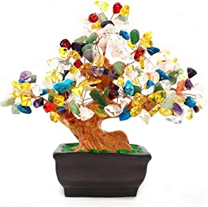Colorsheng Natural Quartz Crystal Money Tree Bonsai Style Decoration for Luck and Wealth (Multicolor)