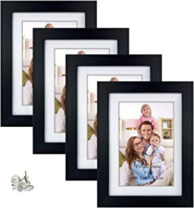Giftgarden 4x6 Picture Frame Set of 4, Matted to Display 4 x 6 Pictures with Mat or 5x7 Photos without Mat for Wall Floating or Tabletop, Black