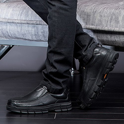 Autumn Melody Fashion Casual Business Genuine Leather Large Size Men Shoes Size 13 US Black by Autumn Melody (Image #5)