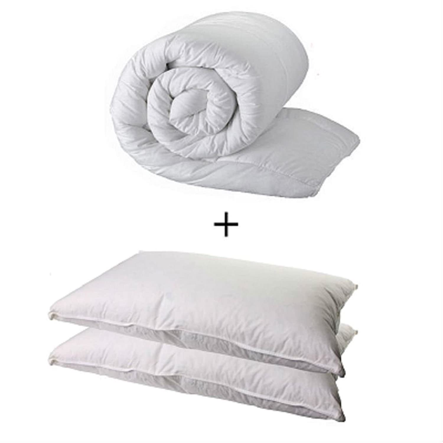 DOUBLE DUVET & 2 DELUXE PILLOWS - DOUBLE 13.5 TOG QUILT & 2 SUPERFIRM PILLOWS Uk Factory