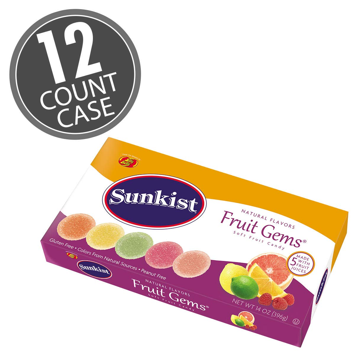 Jelly Belly Sunkist® Fruit Gems 14 oz Box -12 Count Case - Official, Genuine, Straight from the Source