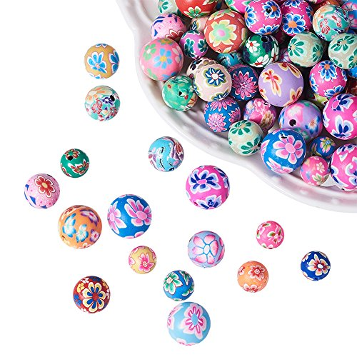 NBEADS 200PCS Random Mixed Color of Handmade Polymer Clay Beads, Round Loose Beads Spacer Charm Beads for Bracelet Jewelry Making Findings