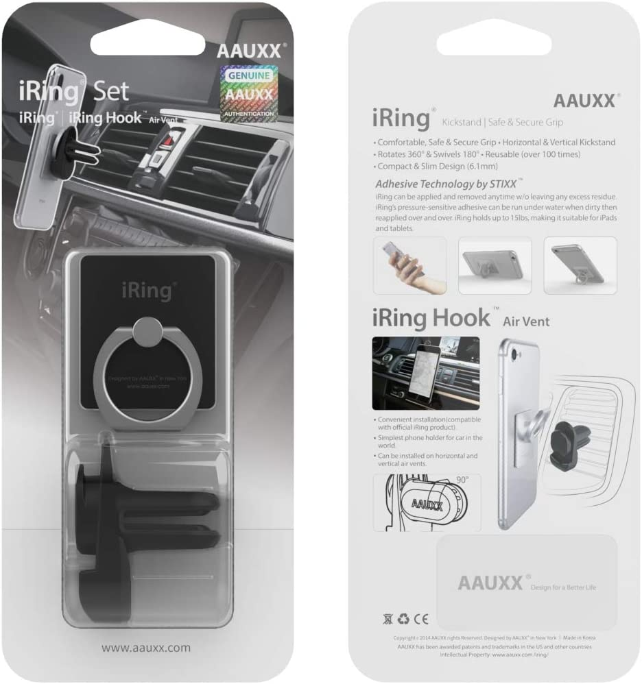 Samsung Other Android Smartphones and Tablets. AAUXX iRing with AirVent Set Cell Phone Grip and Mount Holder Car Air Vent Phone Mount Ring Accessory for iPhone