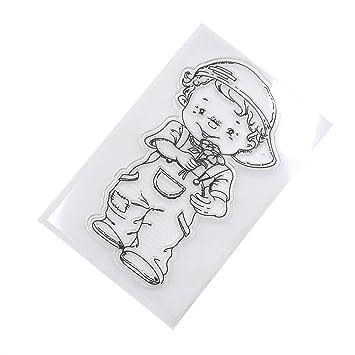 Runrain - Agenda transparente de silicona con sello de goma ...