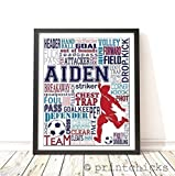 Soccer Typography Personalized Print - PrintChicks Wall Art Decor Poster Team Gift