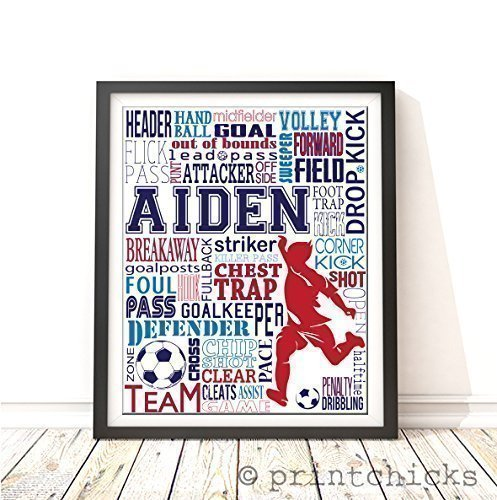 Soccer Typography Personalized Print - PrintChicks Wall Art Decor Poster Team (Personalized Soccer Gifts)
