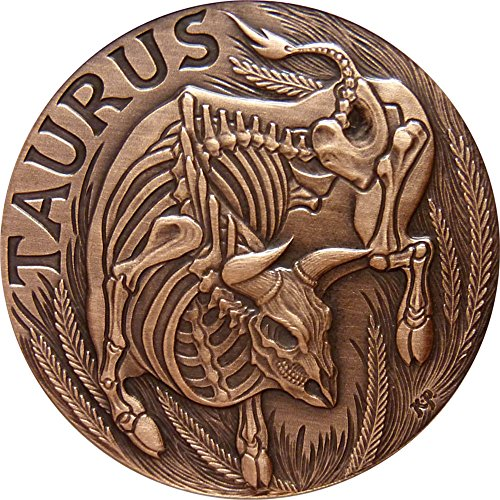 2015 United States Skullcoins TAURUS Memento Mori Zodiac Skull Horoscope Copper Coin 2015 Antique Finish